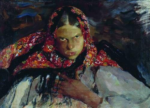 Малявин Ф.А.,Крестьянская девушка. 1910-е