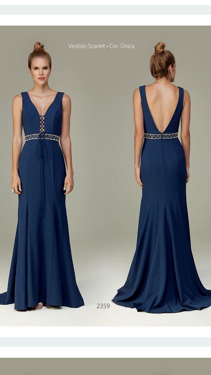 e557504ee Lindo vestido de festa azul marinho com trançado no decote