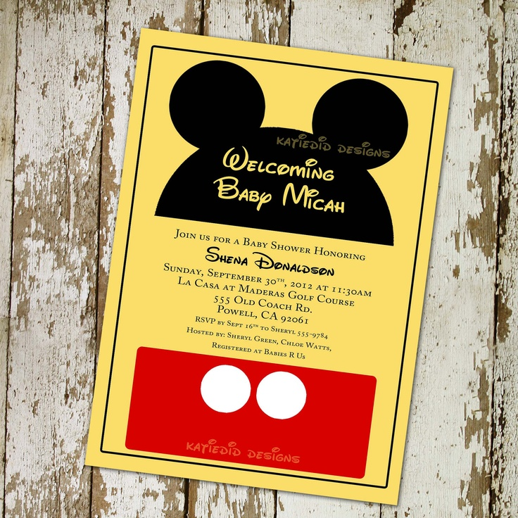 Lovely Mickey Mouse Disney Baby Shower Invitations Or Baby Shower Invitations,  Digital, Printable File (