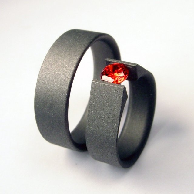 A men s wedding band and a tension setting engagement ring  Ultra modern  design  clean and  20 best Men s Wedding Rings images on Pinterest   Wedding bands  . Modern Mens Wedding Band. Home Design Ideas