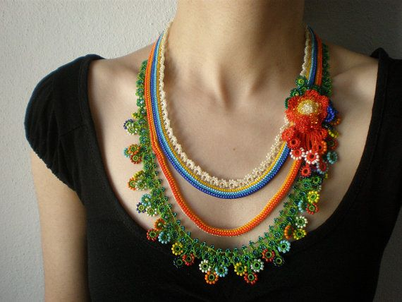 Tagetes Lucida ... Beaded Crochet Necklace by irregularexpressions