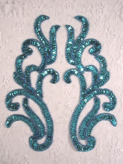 """0170 Turquoise Mirror Pair Beaded Sequin Appliques 9""""  Sewing Crafts Bridal Motif 0170X-tr"""