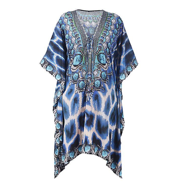 SHORT KAFTAN DRESS IN BLUE PRINT LARGE - Skirts-Dresses - Clothes
