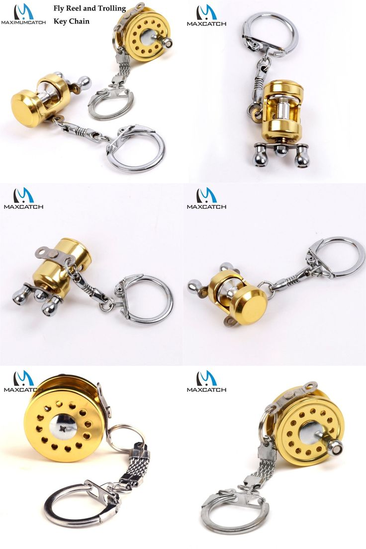 [Visit to Buy] Maximumcatch 2Pcs/lot Fly Reel Key Chain And Trolling Fishing Reel Golden Key Chain Key Rings #Advertisement