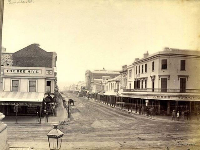 Rundle Street, Adelaide, South Australia, c1880. Photographer:	Sweet, Captain Samuel White Year:	c1880  Description:	View of Rundle Street from the corner of King William and Hindley Streets. The Bee Hive corner can be seen to the left.