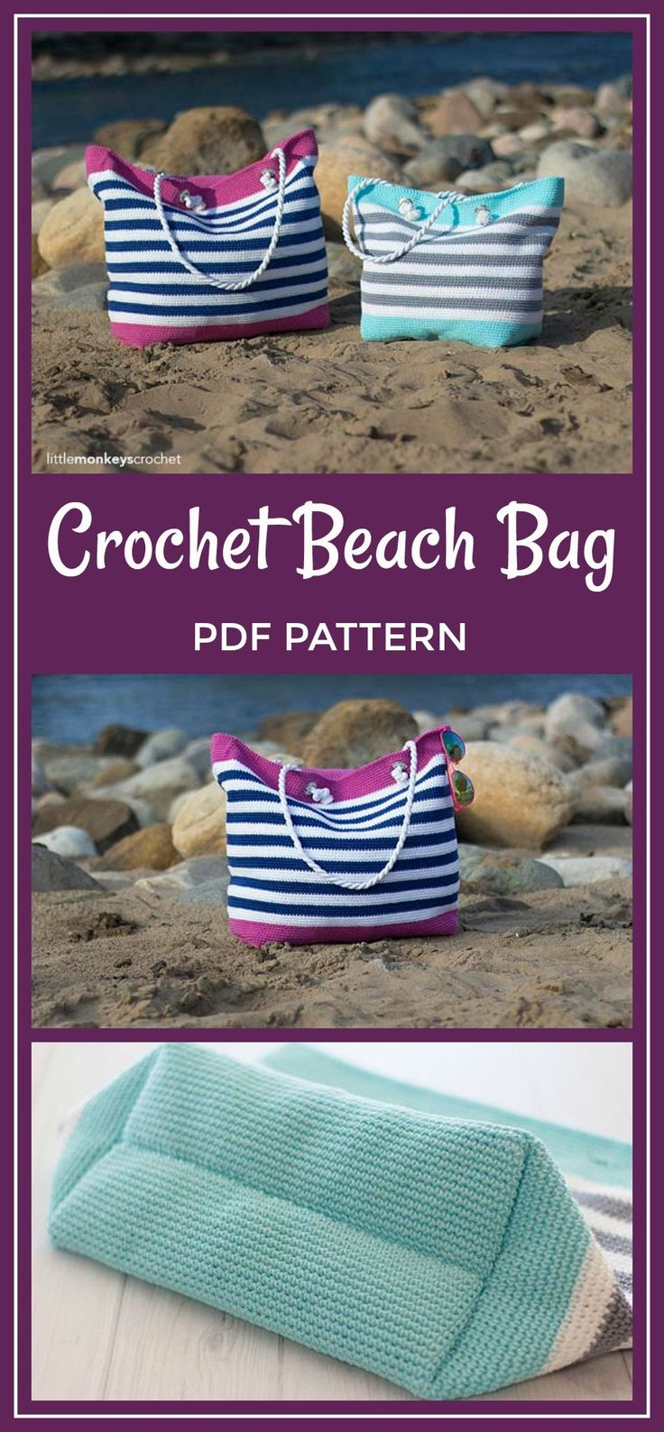 Hit the beach in style. This would be useful for so many things. Crochet Beach Bag Pattern, Tote Bag Crochet (Classic Beach Bag Crochet Pattern by Little Monkeys Crochet) Beach Tote Crochet PDF #crochet #pattern #crochetpattern #affiliate #bag #beach