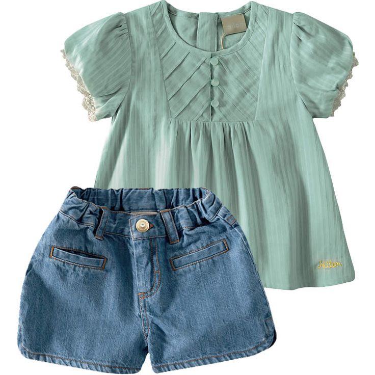 Conjunto Shorts Jeans Infantil para Menina Verde - Milon :: 764 Kids | Roupa…