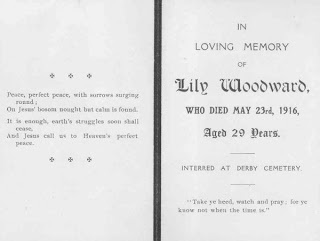 Ancestors At Rest: Funeral Card Lily Woodward 1916