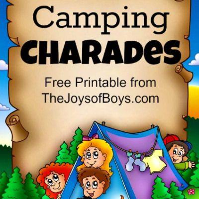 Camping Games: Free Printable Camping Charades