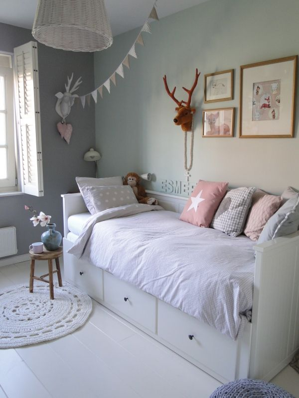 Another light blue-grey calm color. Love the daybed with trundle.