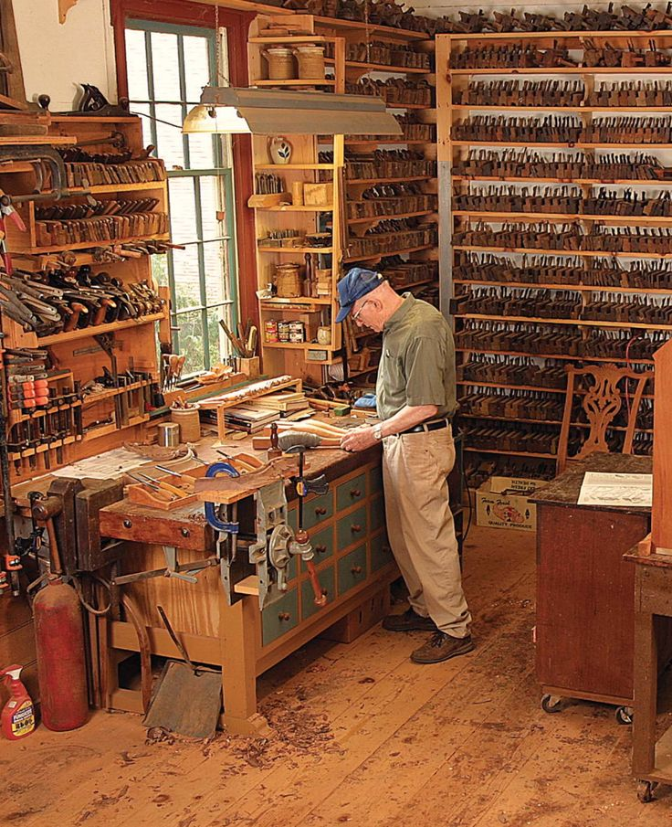The joy of a place for everything, and everything in its place in the workshop. Each tool lined up just waiting to be chosen in Eugene Landon's Woodworking Shop.