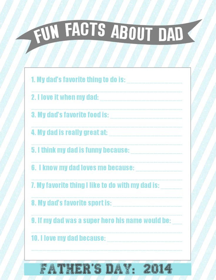 Father's Day Questionnaire for Kids - Father's Day Printable - Fun Facts About Dad #fathersdaygiftideas #fathersdayprintables