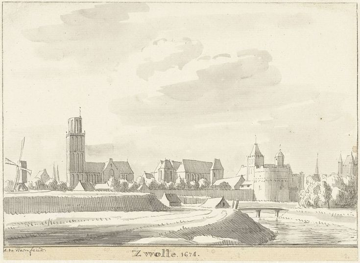 View of Zwolle (Netherlands), by Abraham de Haen,1717-48