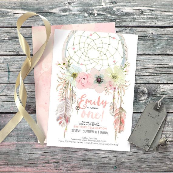 Dreamcatcher boho 1st birthday invitation. by CardaMoonPaperie