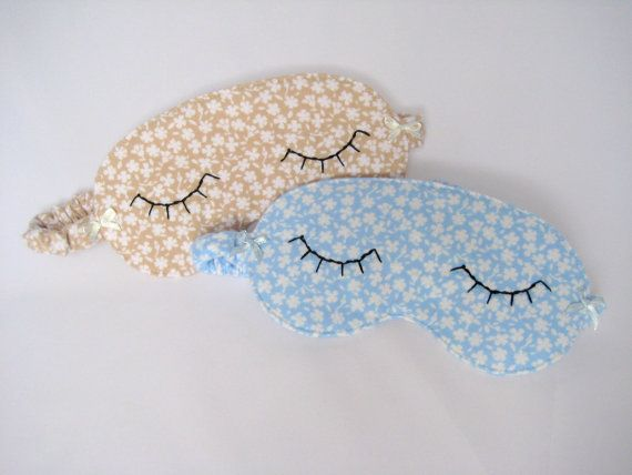 Eye Mask in a Blue or Beige Brushed Cotton Sleep by OneLeggedGoose