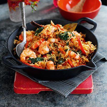 Sri Lankan prawn and spinach biryani, from 'A Taste of Asia'