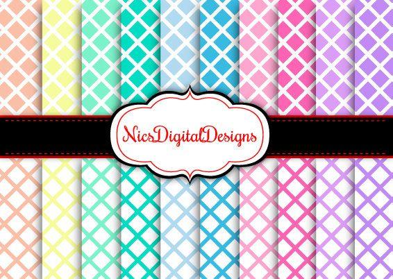 Buy 2 Get 1 Free-20 Digital Papers. Trellis Pattern in Pastel