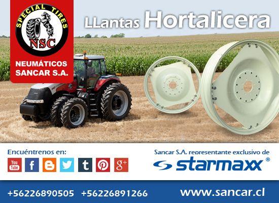 Llanta Hortalicera LLantas Hortaliceras Starmaxx para tractor Agrícola Representante Exclusivo en Chile de Starmaxx Neumáticos Sancar, Todos en un solo lugar. http://www.sancar.cl/ | ventas@sancar.cl | +56226890505 | +56226891266