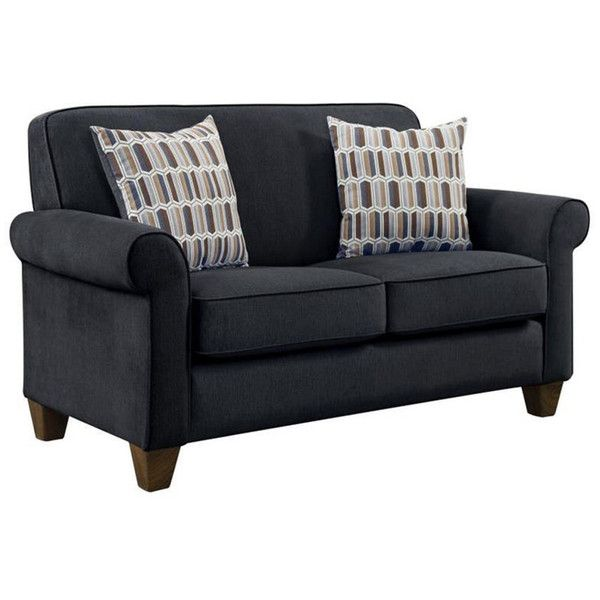 Loveseat ($500) ❤ liked on Polyvore featuring home, furniture, sofas, nocolor, dark gray sofa, colored furniture, charcoal sofa, charcoal grey sofa and dark gray couch