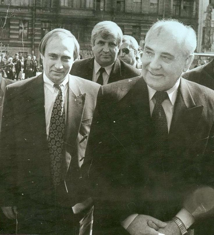 Vladimir Putin and Mikhail Gorbachev during his visit in Saint-Petersburg. Russian Federation. April 1994