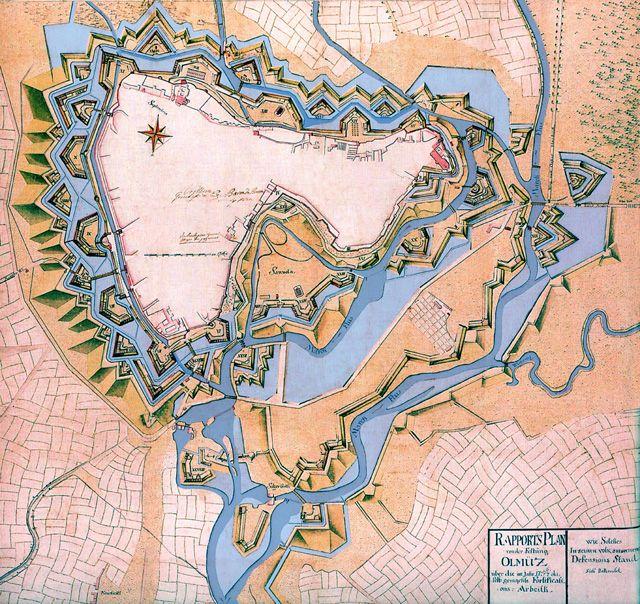 Olomouc map 1757 - Pevnost Olomouc – Wikipedie