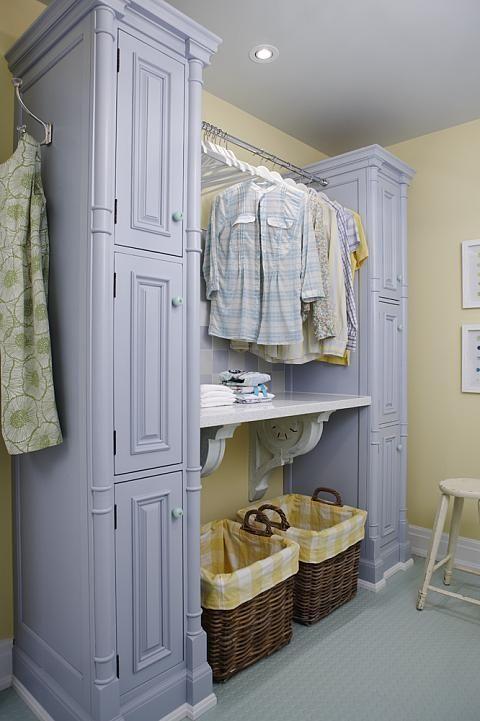 sarah richardson sarah 101 laundry room blue yellow. Basket liners yellow white checked.