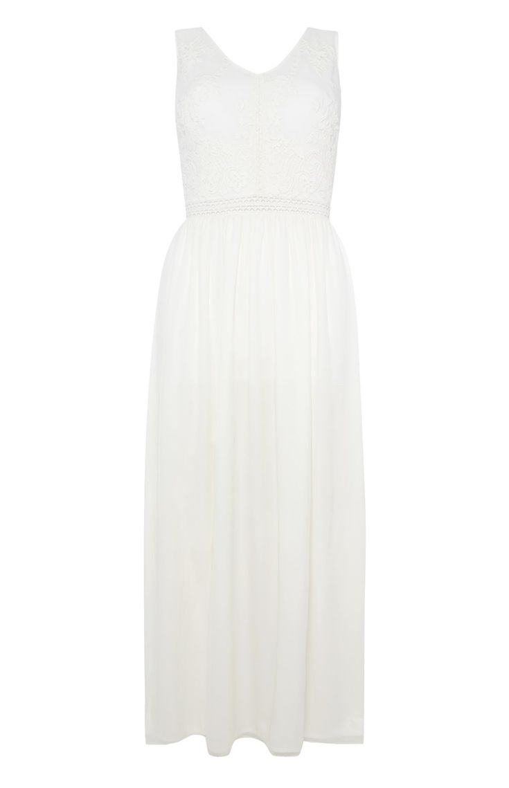 Primark - Ivoorkleurige kanten maxi-jurk in boho-stijl