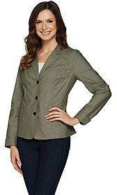 Denim & Co. As Is Long Sleeve 3 Button Chambray Blazer