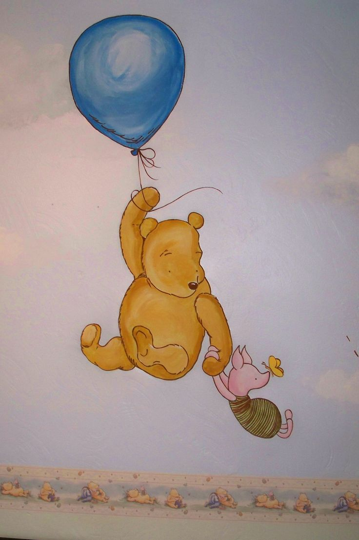 Classic winnie the pooh hand painted wall mural for a for Classic winnie the pooh wall mural