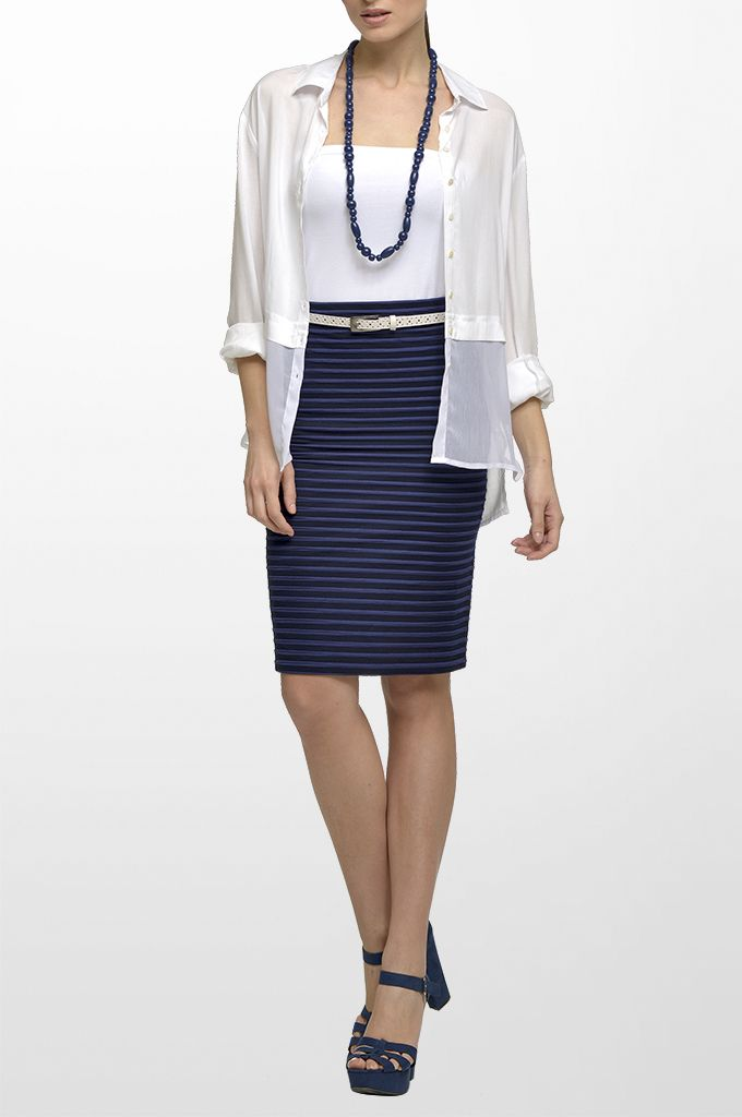 Sarah Lawrence - long sleeve shirt with combination of two fabrics, strapless top, textured stripe pencil skirt, leather belt, long layer necklace.