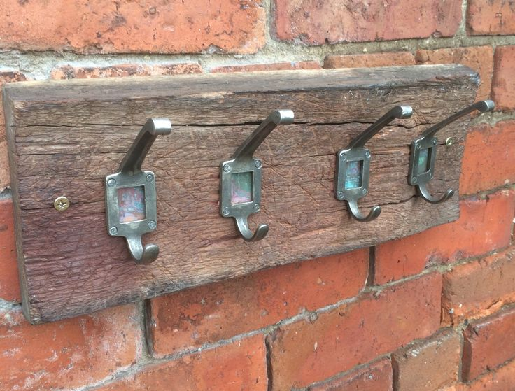 Driftwood coat rack with cast iron label pegs by RusticRework on Etsy
