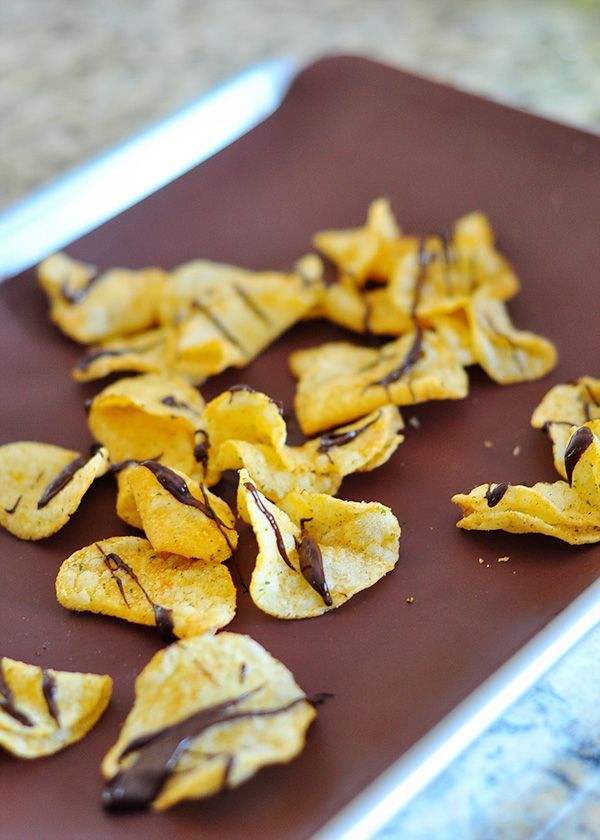 The Cheese Thief: Chocolate-covered potato chips. I'm not sure I'm going to do the jalapeno recipe, but chocolate on plain kettle chips is outrageous and pleasing to even the delicate palates.