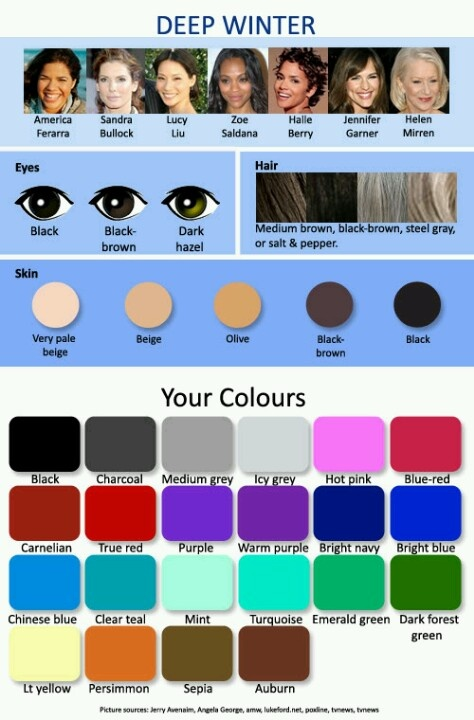 "The best colors for ""winter"" type person...dark eyes, dark hair color, skin colour from very light to light golden"