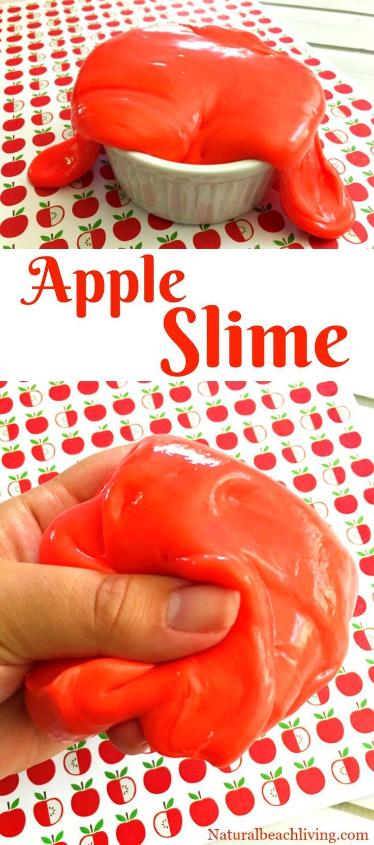 How to Make Apple Jiggly Slime, Jiggly Slime Recipe, Apple Scented Slime, Slime Recipe, Homemade Slime, Fall Sensory Play, Borax Slime for Kids Activities