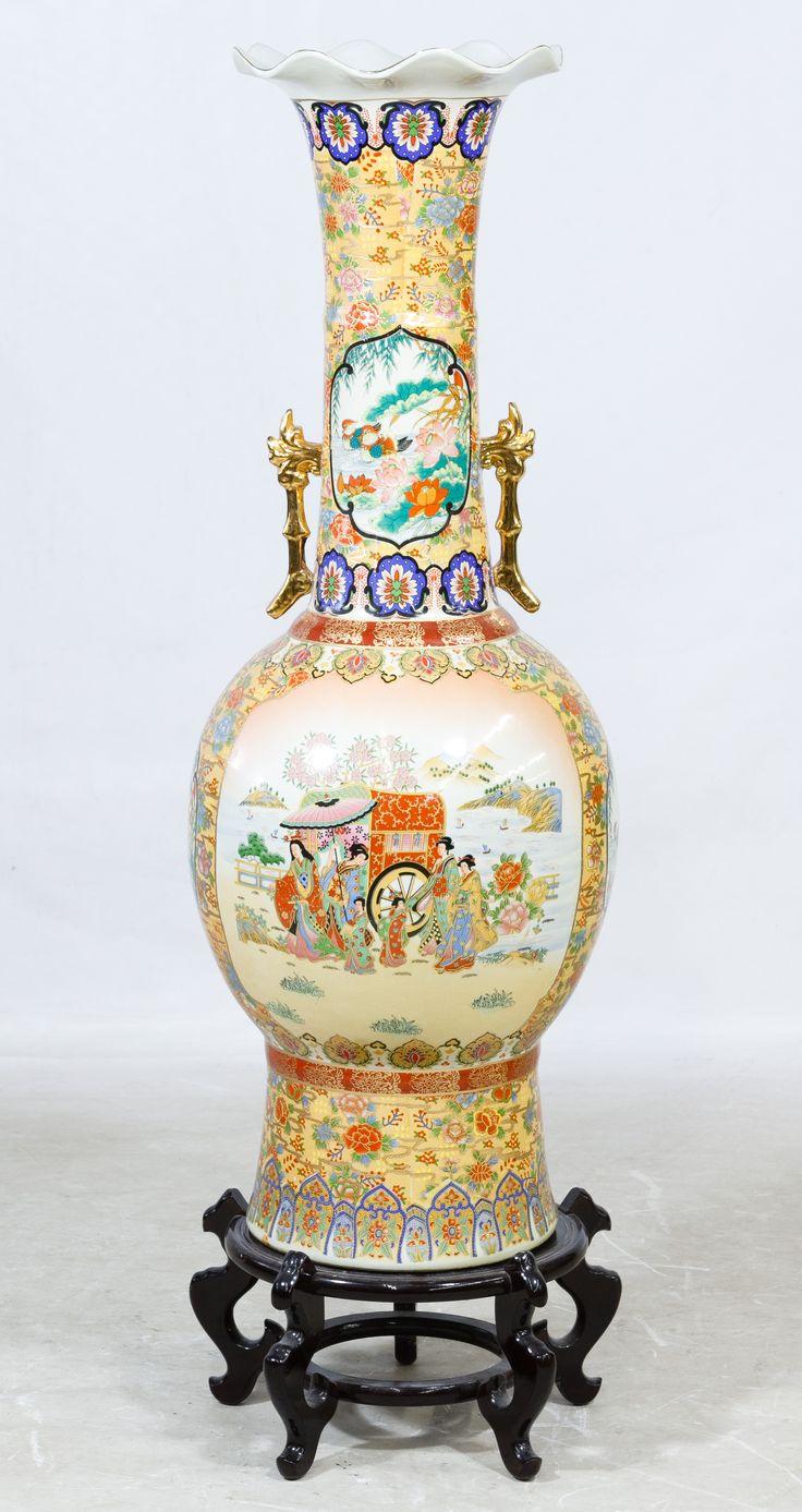 Lot 174 Asian Ceramic Floor Vase; Contemporary having a