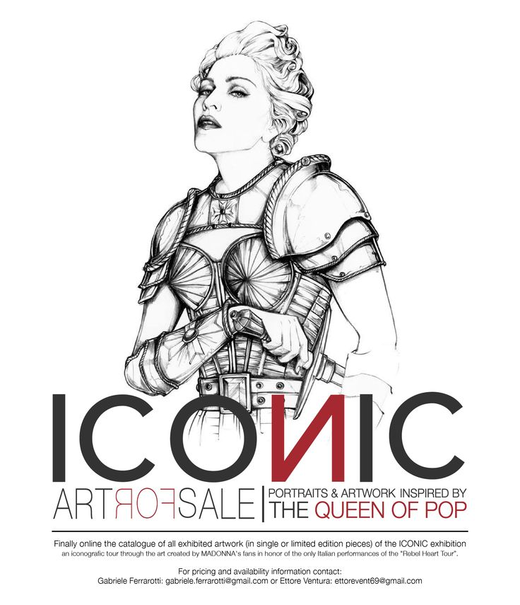 "ICONIC - Portraits & Artwork inspired by The Queen of Pop A project by Gabriele Ferrarotti, Ettore Ventura and Michele Sacco Online the catalogue of all exhibited artwork (in single or limited edition pieces) of the ICONIC exhibition, an iconografic tour through the art created by MADONNA's fans in honor of the only Italian performances of the ""Rebel Heart Tour"". information contact: Gabriele Ferrarotti: gabriele.ferrarotti@gmail.com Ettore Ventura: ettorevent69@gmail.com"