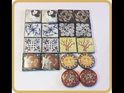 Piastrelline in lava dell'Etna decorata per creare gioielli handmade