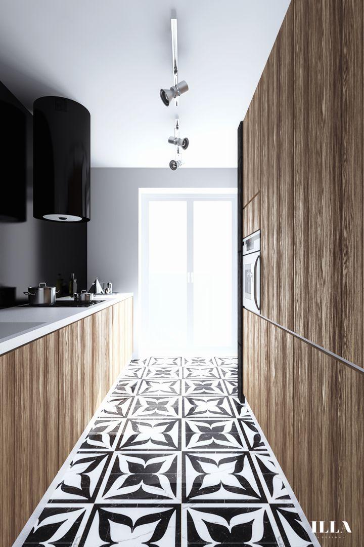Mieszkanie w czarno białych tonacjach - Illa Design Projektowanie wnętrz Kraków, wizualizacje wnętrz, projektowanie ogrodów, wizualizacje produktów