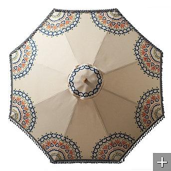 Suzani Hand-painted Outdoor Umbrella