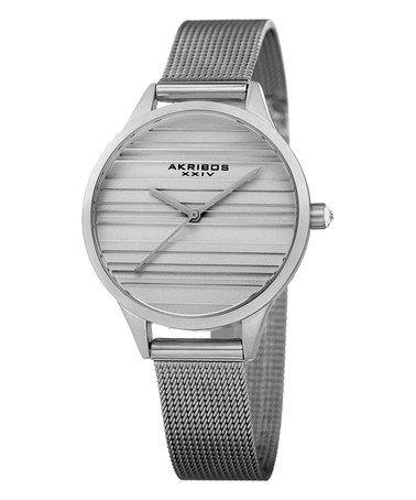 Look at this #zulilyfind! Silver Stripe Mesh Bracelet Watch #zulilyfinds