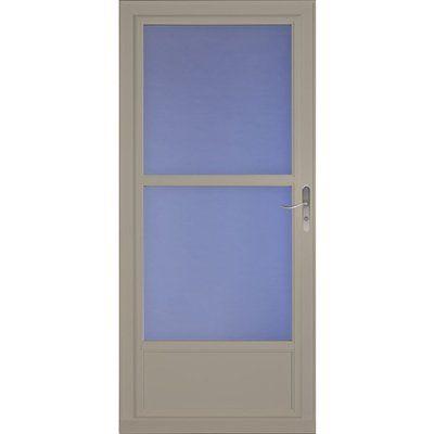 Larson 32-in x 81-in Sandstone Tradewinds Mid-View Tempered Glass Storm Door