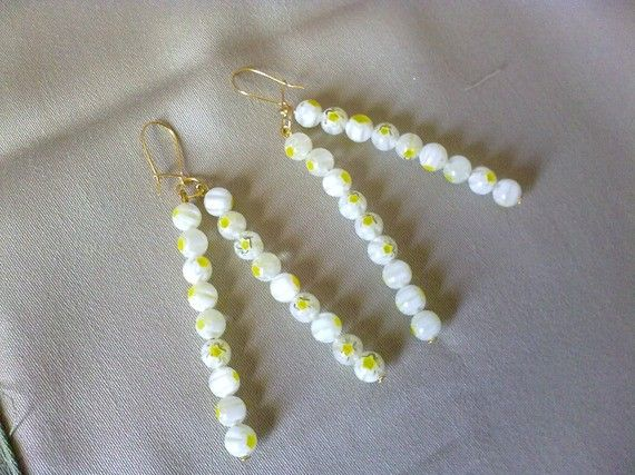 white /yellow dangle earrings by katerinaki106 on Etsy, $6.50