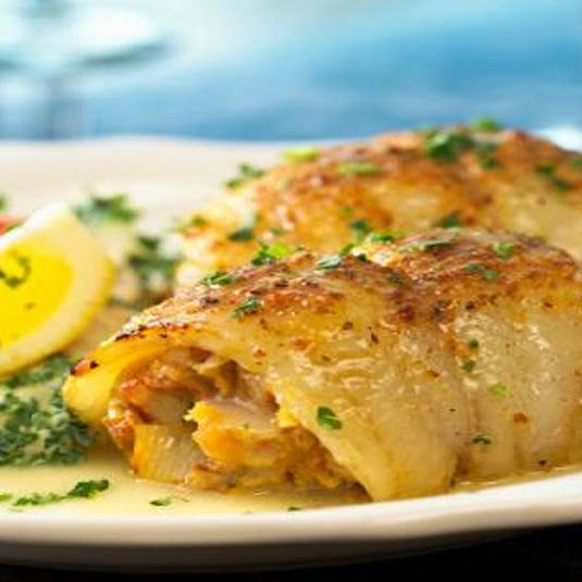 """Stuffed Flounder:  4tbsp butter, 1tbsp minced onion, 1tbsp dried parsley, 3oz crabmeat, 1/4 + 1/8 c dry bread crumbs, 1tbsp lemon juice, 4 flounder fillets, and ¼ tsp paprika. Oven = 400°F. Coat 9""""x13"""" baking dish w/ cooking spray. Melt 3 tbsp butter in pan at med-high. Add onion & parsley; sauté for 1 min. Stir in crab, crumbs & lemon juice.  Spoon over fillets then roll up each; place seam side down in dish. Melt 1 tbsp butter; drizzle over fillets; sprinkle with paprika.  Bake for 20-25…"""