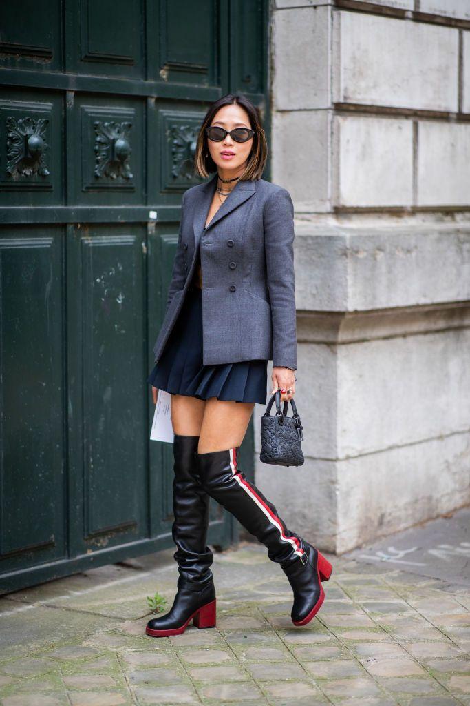 Paris France June 23 Aimee Song Wearing Grey Blazer Jacket Mini