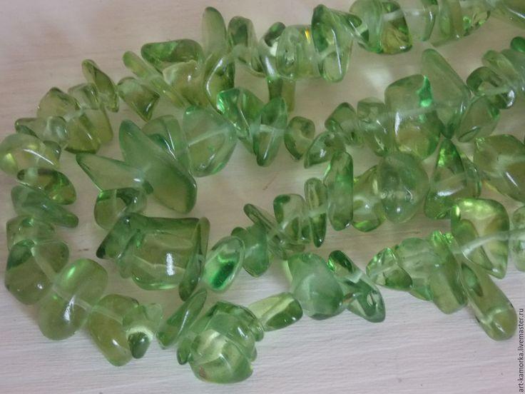 Купить Хромдиопсид, каменная крошка. нить 80 см - ярко-зелёный, хромдиопсид, кварц натуральный