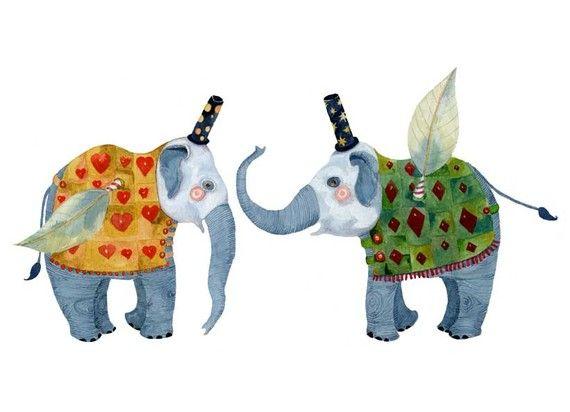 Elefant Drucken fliegende Elefanten Abbildung 8 x 11