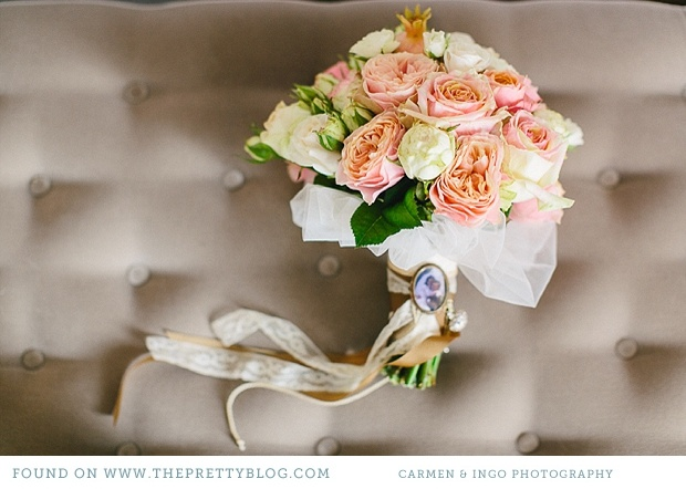 vintage tuscan inspired boquet with shades of pink & neutral cream & white.