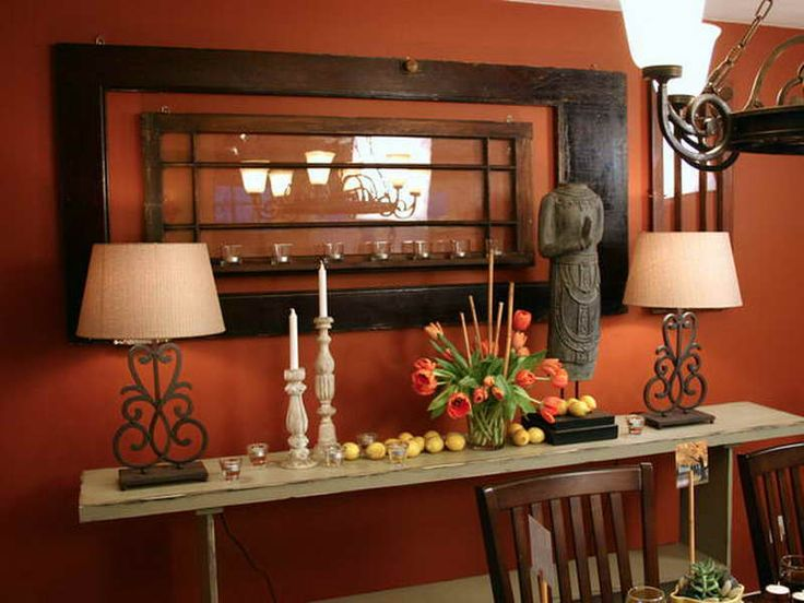 Burnt Orange Color Scheme Interior with wooden material
