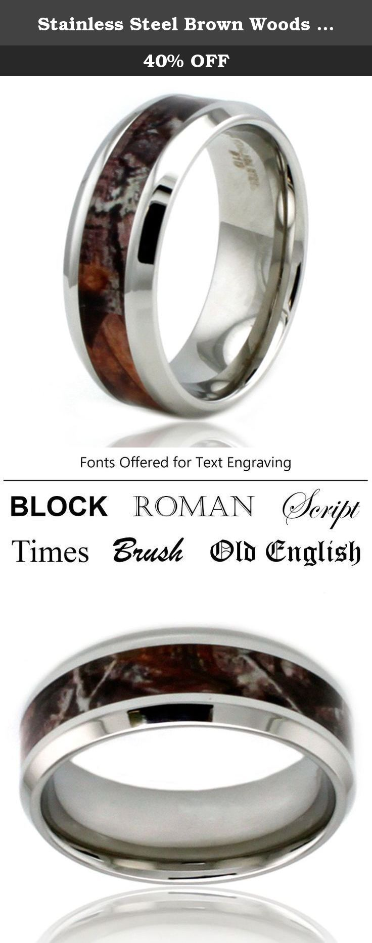 Stainless Steel Brown Woods Camouflage Beveled Edge Ring w/ Personalized Engraving, Size 13.5. Surgical grade stainless steel polished to perfection, with brown Real Tree camouflage pattern inlay. A beautiful and elegant solution for your wedding band needs. HOW TO ENGRAVE: (1) Contact us after order is placed and let us know the message along with font and placement preference. (2) If we do not receive any contact from you within 3 days, we will ship the order without engraving. (3)...