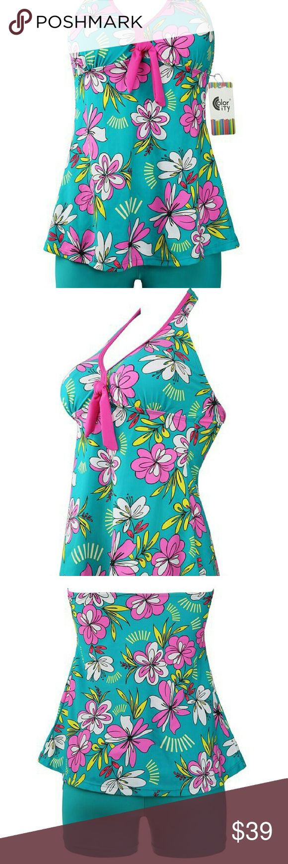 Plus Size Two Pieces Floral Tankini Top & Bottom Women's Plus Size Two Pieces Floral Tankini Top & Bottom Swimsuit Available in Womens 12, 14, 16, & 18. Swim